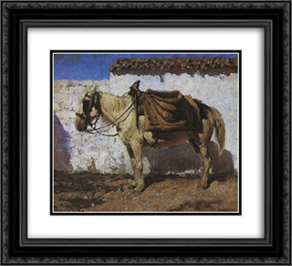 White Horse. Normandy. 22x20 Black or Gold Ornate Framed and Double Matted Art Print by Vasily Polenov