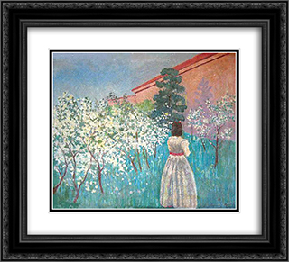 A garden in Blossom 22x20 Black or Gold Ornate Framed and Double Matted Art Print by Victor Borisov Musatov