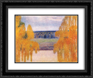 Autumn Song 24x20 Black or Gold Ornate Framed and Double Matted Art Print by Victor Borisov Musatov
