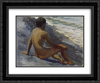 Boy at the seashore 24x20 Black or Gold Ornate Framed and Double Matted Art Print by Victor Borisov Musatov