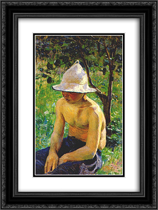 Boy in the garden 18x24 Black or Gold Ornate Framed and Double Matted Art Print by Victor Borisov Musatov