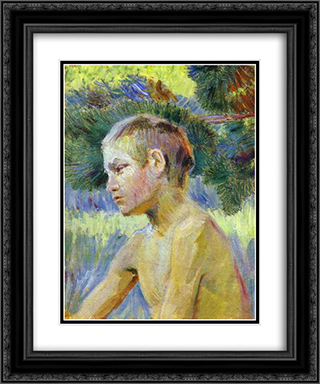 Boy Seated 20x24 Black or Gold Ornate Framed and Double Matted Art Print by Victor Borisov Musatov