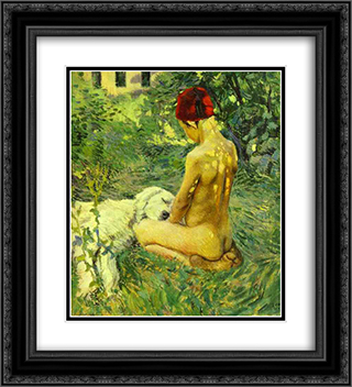 Boy with a Dog 20x22 Black or Gold Ornate Framed and Double Matted Art Print by Victor Borisov Musatov