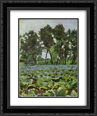 Cabbage Field with Willows 20x24 Black or Gold Ornate Framed and Double Matted Art Print by Victor Borisov Musatov