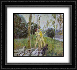 Daphnis and Chloe 22x20 Black or Gold Ornate Framed and Double Matted Art Print by Victor Borisov Musatov