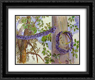 Garlands of Cornflowers 24x20 Black or Gold Ornate Framed and Double Matted Art Print by Victor Borisov Musatov