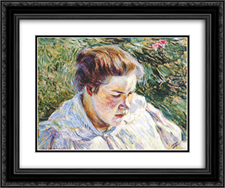 Girl in the Sunlight 24x20 Black or Gold Ornate Framed and Double Matted Art Print by Victor Borisov Musatov