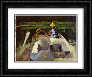 In a Boat 24x20 Black or Gold Ornate Framed and Double Matted Art Print by Victor Borisov Musatov