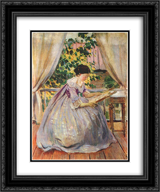Lady Embroidering 20x24 Black or Gold Ornate Framed and Double Matted Art Print by Victor Borisov Musatov