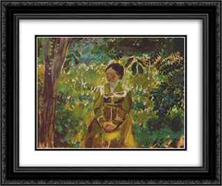 Lady in a Garden 24x20 Black or Gold Ornate Framed and Double Matted Art Print by Victor Borisov Musatov