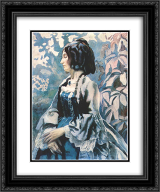 Lady in Blue 20x24 Black or Gold Ornate Framed and Double Matted Art Print by Victor Borisov Musatov