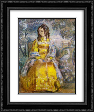 Lady Seated, with a Tapestry in the Background 20x24 Black or Gold Ornate Framed and Double Matted Art Print by Victor Borisov Musatov