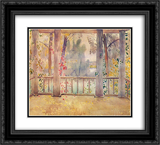 On a Balcony in Tarusa 22x20 Black or Gold Ornate Framed and Double Matted Art Print by Victor Borisov Musatov