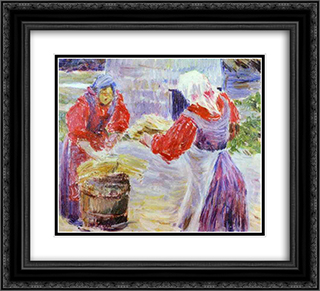 Peasant Women 22x20 Black or Gold Ornate Framed and Double Matted Art Print by Victor Borisov Musatov