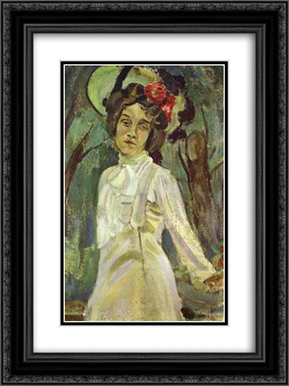 Portrait of Nadezhda Staniukovich 18x24 Black or Gold Ornate Framed and Double Matted Art Print by Victor Borisov Musatov