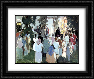 Prayer on the railway station 24x20 Black or Gold Ornate Framed and Double Matted Art Print by Victor Borisov Musatov