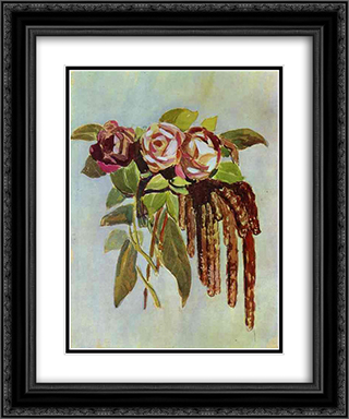 Roses and Catkins 20x24 Black or Gold Ornate Framed and Double Matted Art Print by Victor Borisov Musatov