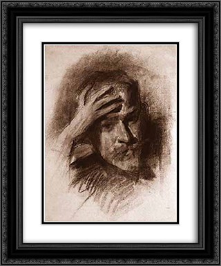 Self Portrait 20x24 Black or Gold Ornate Framed and Double Matted Art Print by Victor Borisov Musatov