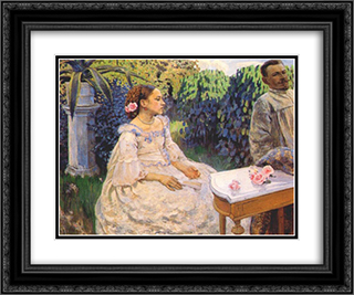 Self Portrait with Sister 24x20 Black or Gold Ornate Framed and Double Matted Art Print by Victor Borisov Musatov