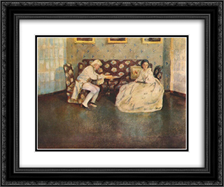 Silence (Indoors) 24x20 Black or Gold Ornate Framed and Double Matted Art Print by Victor Borisov Musatov