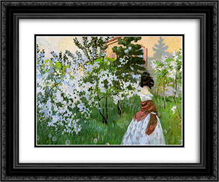 Spring Sun 24x20 Black or Gold Ornate Framed and Double Matted Art Print by Victor Borisov Musatov
