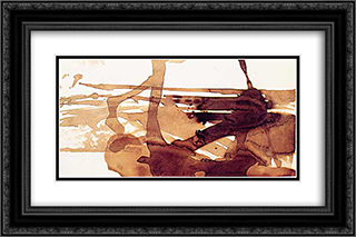 Abstract Composition 24x16 Black or Gold Ornate Framed and Double Matted Art Print by Victor Hugo