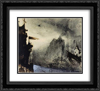 Ermitage Rock in an imaginary landscape 22x20 Black or Gold Ornate Framed and Double Matted Art Print by Victor Hugo