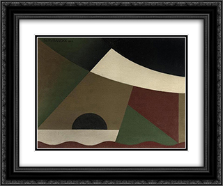 Peinture 58 Opus 58 24x20 Black or Gold Ornate Framed and Double Matted Art Print by Victor Servranckx