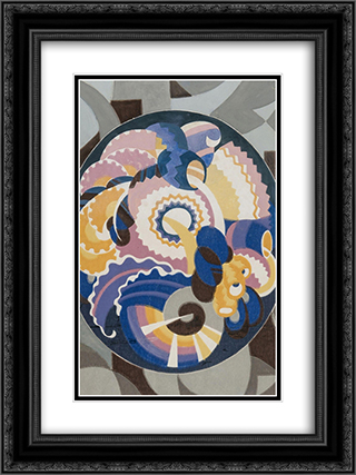 Xallpaper - Papier peint 18x24 Black or Gold Ornate Framed and Double Matted Art Print by Victor Servranckx