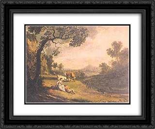 Cena campestre 24x20 Black or Gold Ornate Framed and Double Matted Art Print by Vieira Portuense