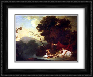 Leda e o Cisne 24x20 Black or Gold Ornate Framed and Double Matted Art Print by Vieira Portuense