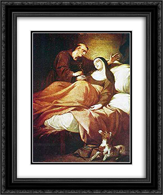 Santa Maria de Cortona 20x24 Black or Gold Ornate Framed and Double Matted Art Print by Vieira Portuense
