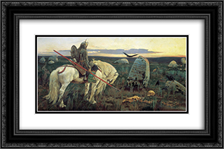 A Knight At the Crossroads 24x16 Black or Gold Ornate Framed and Double Matted Art Print by Viktor Vasnetsov