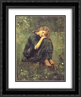 Alyonushka (study) 20x24 Black or Gold Ornate Framed and Double Matted Art Print by Viktor Vasnetsov