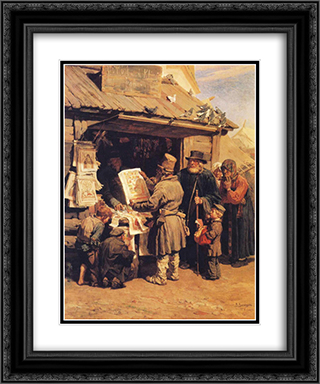 At a Bookseller s 20x24 Black or Gold Ornate Framed and Double Matted Art Print by Viktor Vasnetsov