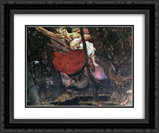 Baba Yaga 24x20 Black or Gold Ornate Framed and Double Matted Art Print by Viktor Vasnetsov