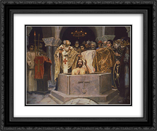 Baptism of Prince Vladimir, Fragment of the Vladimir Cathedral in Kiev 24x20 Black or Gold Ornate Framed and Double Matted Art Print by Viktor Vasnetsov