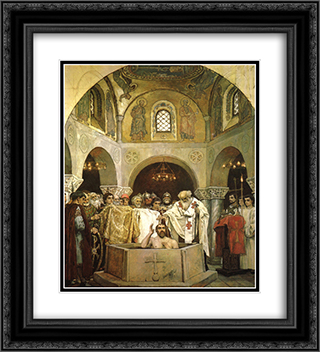 Baptism of Prince Vladimir 20x22 Black or Gold Ornate Framed and Double Matted Art Print by Viktor Vasnetsov