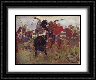 Battle of the Scythians with the Slavs (sketch) 24x20 Black or Gold Ornate Framed and Double Matted Art Print by Viktor Vasnetsov