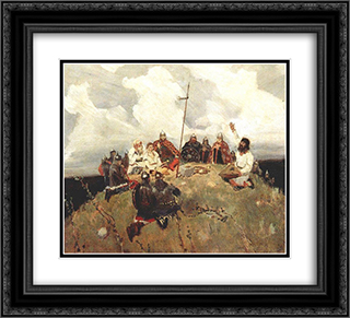 Bayan (sketch) 22x20 Black or Gold Ornate Framed and Double Matted Art Print by Viktor Vasnetsov