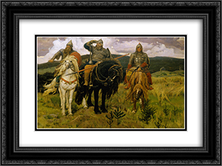 Bogatyrs 24x18 Black or Gold Ornate Framed and Double Matted Art Print by Viktor Vasnetsov