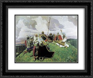 Boyan 24x20 Black or Gold Ornate Framed and Double Matted Art Print by Viktor Vasnetsov