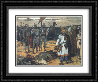 Calling of Vikings 24x20 Black or Gold Ornate Framed and Double Matted Art Print by Viktor Vasnetsov