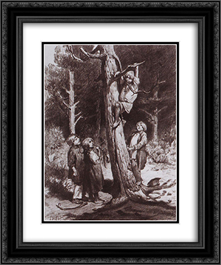 Children are ruining the nest 20x24 Black or Gold Ornate Framed and Double Matted Art Print by Viktor Vasnetsov