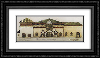 Draft facade Tretyakov Gallery 24x14 Black or Gold Ornate Framed and Double Matted Art Print by Viktor Vasnetsov