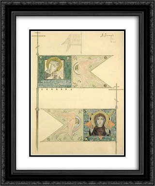 Drawing for banners 20x24 Black or Gold Ornate Framed and Double Matted Art Print by Viktor Vasnetsov