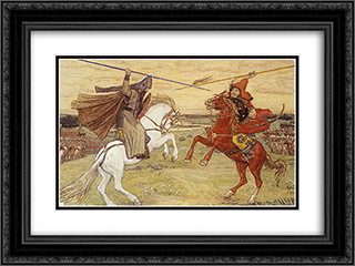 Duel Peresvet with Chelubey 24x18 Black or Gold Ornate Framed and Double Matted Art Print by Viktor Vasnetsov
