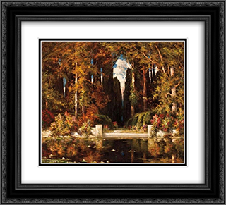 An Italianate Landscape 22x20 Black or Gold Ornate Framed and Double Matted Art Print by Vilhelms Purvitis