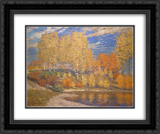 Autumn Sun 24x20 Black or Gold Ornate Framed and Double Matted Art Print by Vilhelms Purvitis