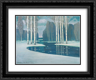 Birch Trees by a River 24x20 Black or Gold Ornate Framed and Double Matted Art Print by Vilhelms Purvitis